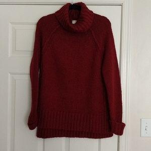 Rich deep red chunky sweater tunic